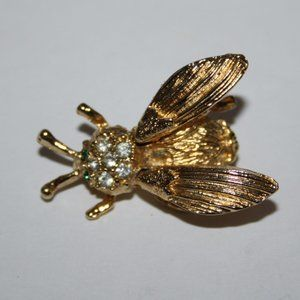 Stunning Vintage gold and rhinestone bug brooch